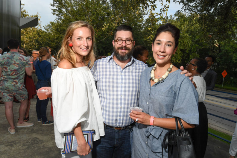 Susie Bowen, Peter Pettigrew, and Calia Alvarado Pettigrew at the 2016 Young Patrons Season Kick-Off at the Contemporary Arts Museum Houston. Photo by Daniel Ortiz.