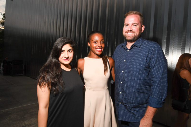 Sana Sahi, Alecia Harris, and Jonathan Beitler at the 2016 Young Patrons Season Kick-Off at the Contemporary Arts Museum Houston. Photo by Daniel Ortiz.