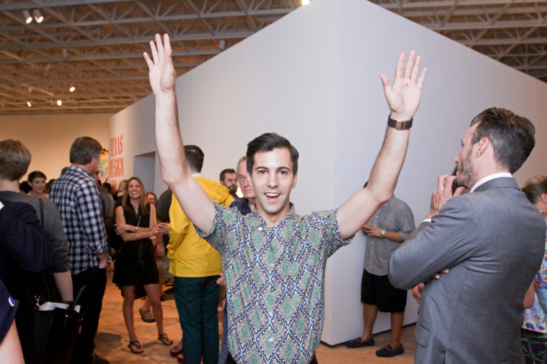 "Join & Give | Cody Swann at the opening reception for the Contemporary Arts Museum Houston's exhibition ""Texas Design Now"" on August 21, 2015. Photo by Martin Yaptagco."