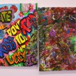 "Leonardo Garcia, Untitled. 2019, Acrylic, Sharpie and tin foil on Canvas, , 16"" x 20"",artwork courtesy of artist."