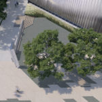 Aerial rendering of proposed updates to Museum's Ethel and Frank Freed Garden.