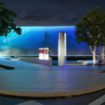 Night view rendering of proposed Museum's Eleanor and Frank Freed Garden from corner of Montrose Boulevard and Bissonnet Street with updated lighting and signage.